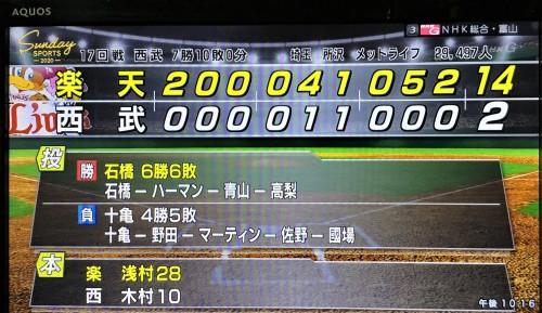 2019.8.25 西武戦14対2 スコア表 NHKサンデースポーツ.JPG